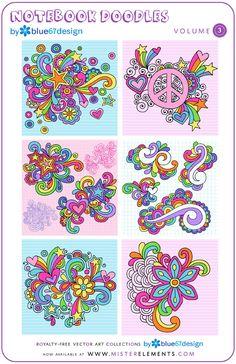 blue67design @ MisterElements.com - Vector Art Collections - NOTEBOOK DOODLES Vol. 1 - 3 BUNDLE Doodle Art Designs, Doodle Patterns, Zentangle Patterns, Embroidery Patterns, Doodle Coloring, Adult Coloring, Notebook Doodles, Peace Sign Art, Doodle Inspiration