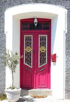 Molyvos village in Lesvos Island, Greece Entrance Ways, Entrance Doors, Doorway, Cool Doors, Unique Doors, Portal, Door Knockers, Door Knobs, Samos