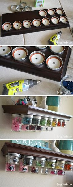 DIY:  Mason Jar Storage Shelf Tutorial - this would be a great way to organize the hardware in the garage!