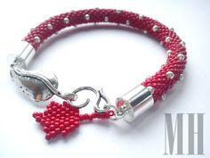Jesienna bransoletka z liściem klonu   MH Biżuteria - cuda ręcznie wykonane