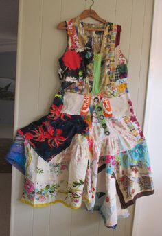 My Bonny Collage Clothing - Wearable Folk Art - Random Scraps of Vintage Fabric