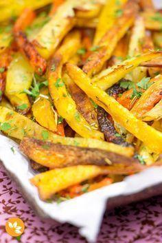 Receita de Palitos de legumes assados super crocantes!! Com cenoura, mandioquinha, batata e batata doce!!