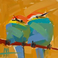 Two Bee-Eaters original bird oil painting by Angela Moulton 5 x 5 inch on panel ready to ship August 10 by prattcreekart on Etsy