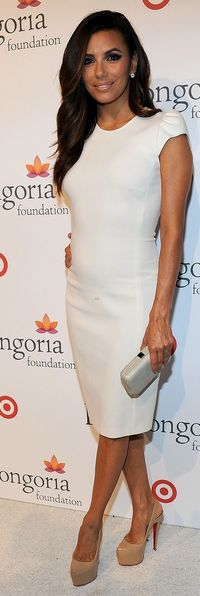 Who made Eva Longoria's white cap sleeve dress, nude platform pumps and clutch handbag that she wore in Los Angeles on September 15, 2012? Dress – Emilio Pucci Shoes – Christian Louboutin Purse – Salvatore Ferragamo