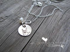 ASL Sign Language Sterling Silver Necklace by MotherDaughterJewel, $30.00