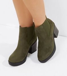 Wide Fit Khaki Suedette Heeled Boots  | New Look