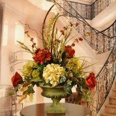 Peony and Hydrangea Silk Flower Arrangement with Feathers AR356
