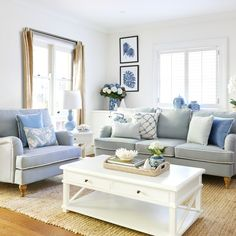 Duck Egg Blue Linen Roll Arm Sofa - 2 Sizes Available Hamptons Living Room, Blue Couch Living Room, Coastal Living Rooms, Living Room Colors, Living Room Designs, Living Room Decor, Duck Egg Blue Living Room, Living Room Colour Design, Coffee Table Design
