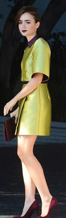Lily Collins: Purse – Nancy Gonzalez  Dress – Caterina Gatta  Shoes – Stuart Weitzman