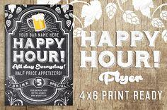 Chalk Happy Hour Flyer on Behance