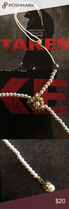 """Pearl """"Y"""" Necklace Faux Pearl Choker """"Y"""" Necklace with Goldtone flower accents, vintage, never worn, claw clasp, adjustable 15/16"""" necklace with 3"""" drop Jewelry Necklaces"""