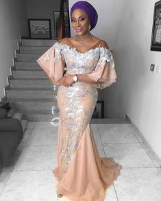Plus Size Evening Dresses African Women Wear Half Sleeves Sequined Lace Appliques Mermaid Prom Dress Satin V Neck Party Gowns Nigerian Lace Styles, African Lace Styles, African Lace Dresses, Latest African Fashion Dresses, African Inspired Fashion, Nigerian Lace Dress, Ankara Styles, Evening Dresses Plus Size, Mermaid Evening Dresses