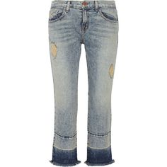 J Brand - Adele Cropped Distressed Mid-rise Flared Jeans ($125) ❤ liked on Polyvore featuring jeans, light denim, cuffed jeans, ripped jeans, distressed jeans, destructed jeans and light blue jeans