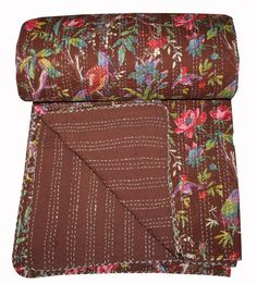 Queen Handmade Print Kantha Quilt Boho Ethnic Cotton Bedspread Decor Blanket #Handmade #Traditional