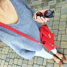 IG @mrscasual <click through to shop this look> Grey thermal swing top.  White skinny jeans.  lace up flats.  Philip lim pashli red.