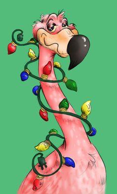 Christmas in Florida -- flamingo w/ lights Tropical Christmas, Beach Christmas, Coastal Christmas, Pink Christmas, Vintage Christmas, Christmas Time, Christmas Crafts, Christmas Flamingo, Christmas Lights
