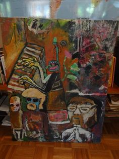 "Inventor Of Fretless | David Charles Fox | Acrylic on Board | 2'6"" x 3'3""  davidcharlesfoxexpressionism.com #expressionism #impressionism #surrealist #abstract #cartoony #piano #strangeart"