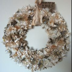 Christmas rag wreath in gold and ivory