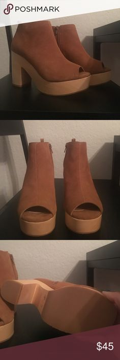 Nasty Gal Cognac Heeled Booties Heeled Booties with peeptoe. Suede upper. Wooden platform and heel. Very 70s style. Never worn, only tried on. Nasty Gal Shoes Ankle Boots & Booties