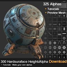 325 Hard surface sci fi Alpha/Height brush set, Jonas Ronnegard on ArtStation at https://www.artstation.com/artwork/xBqlY