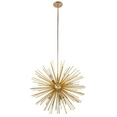 Showcasing a striking silhouette sparked by the space race, this sputnik chandelier brings a splash of modern style to any space in your home. Crafted of metal, this fixture features a spherical cente Bathroom Chandelier, Sputnik Chandelier, Chandelier Lighting, Chandeliers, Hallway Lighting, Tall Ceilings, Shades Of Gold, Flush Mount Ceiling, Cool Lighting