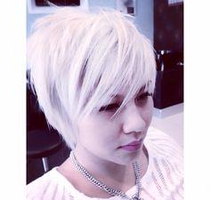 Asian ash blond & pixie cut