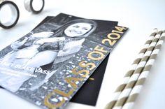 We love the metallic look of this foil pressed Tiny Prints graduation announcement! #graduation