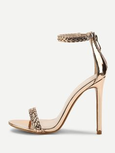 SheIn offers Woven Strappy PU Stiletto Heels & more to fit your fashionable needs. Fancy Shoes, Pretty Shoes, Beautiful Shoes, Cute Shoes, Stiletto Heels, High Heels, Shoes Heels, Prom Shoes, Wedding Shoes