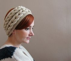 Light Cream Double Braided Knitted Headband ❤ by SistersandStories