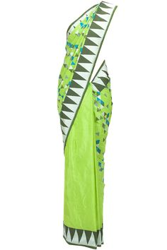Parrot green geometric pattern sari available only at Pernia's Pop-Up Shop.