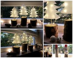 Christmas trees made of paper - weihnachtdeko - Christmas Town, Christmas Paper, Xmas, Christmas Garden, Christmas Trees, Diy Crafts To Do, Paper Crafts, Tree Decorations, Christmas Decorations