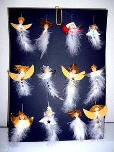 Angels with wooden bead heads and feathers.