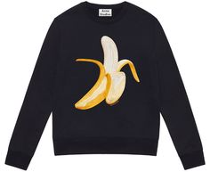 Who wouldn't love an emoji shopping spree? Roki Prunali shares her love for the Acne Studios Emoji Sweatshirt featuring the banana emoji! Graphic Sweatshirt, Acne Studios, Embroidered Sweatshirts, Fall Outfits, What To Wear, Clothes For Women, My Style, Sweaters, Embroidery