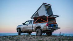 Get started on your truck camping adventure. Everything on truck bed camping from slide-in truck campers, popup truck campers, truck camper shells and Truck Bed Tent, Truck Bed Camping, Camping Set Up, Camping Hacks, Camping Stuff, Camping Gear, Pop Up Truck Campers, Pickup Camper, Pickup Trucks