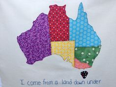 a popular and patriotic song 'Down Under' by Men at Work fabric map of Australia by Gozi and Pop Australia Map, Working Man, Craft Club, Quilting Ideas, Fun Things, Crafting, Songs, Popular, Quilts
