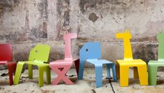 Modern little Zelig Animal Chairs by designer Elad Ozeri at Pompel Design in Jerusalem, Israel. They like to keep their products simple, reliable and colorful to raise a smile on peoples faces. {via ninakix}