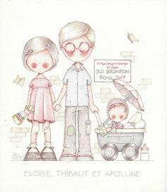 by Celine Bonnaud Celine, Whimsy Stamps, Cartoon Sketches, Cute Clipart, Kids Artwork, Cute Images, Cute Illustration, Cute Drawings, Nursery Art