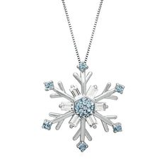 White & Aqua Crystal Snowflake Pendant in Sterling Silver