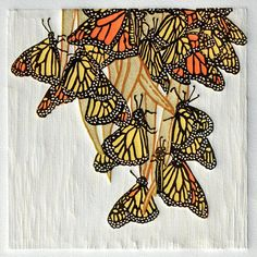A Flutter of Monarchs  Linocut Print Original by RedTailStudios