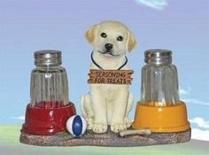 Labrador Retriever Salt & Pepper Shaker Set Pupply Pet Fun Gift by DWK. $14.03. Great Gift. Unique. Kitchen Set. Glass Shakers. Actually Usable. Limited Edition! This adorable Dog Salt & Pepper Shaker Set makes a wonderful gift or a beautiful addition to your own figurine Collection. Fine quality, hand painted and made of cold cast resin with glass salt & pepper shakers.. Save 53% Off!