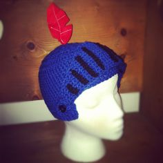 Mike the knight crochet hat. Http://Facebook.com/knitsybitsys by Ashley McGahey