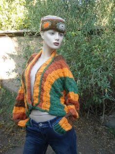 Majetejidos: Chaleco de lana 4 colores a palillos