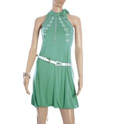 109 F - BEADED EMBROIDERY LYCRA DRESS  A delightful halter neck dress in sea green with white and green embroidery wears well in the daytime as well as the night. Maintain the aqua theme and accessorize with pearls in white or cream and white strappy sandals or pumps.