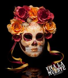 Rise of the Phoenix - Dia de los Muertos/ Day of the dead hand painted skull mask, FALL 2013 COLLECTION