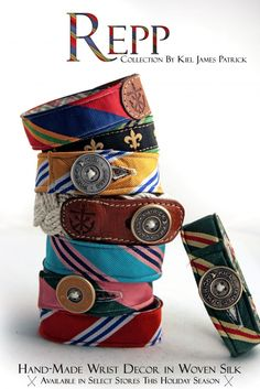 kiel james patrick wristband - make with old belts, buttons, and ties.