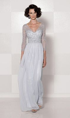 Cameron Blake 114659 V Neck Illusion Mothers Dress - French Novelty $460