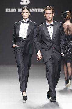 Couple in tux and bow tie @ Elio Berhanyer show, SS11