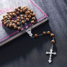High Quality Fashion Rosary Wood Beads DIY Necklaces For Men Women Virgin Mary Jesus Christ Cross Pendant Long Chain Jewelry Rosary Prayer, Holy Rosary, Jesus Necklace, Men Necklace, Strand Necklace, Gold Cross And Chain, Cross Jewelry, Chain Jewelry, Jewellery
