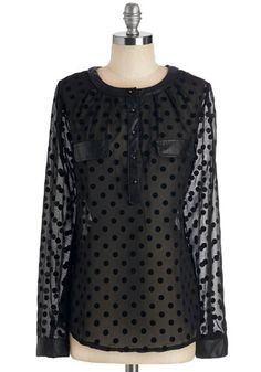 Love is What I Dot Top - Mid-length, Sheer, Faux Leather, Woven, Black, Polka Dots, Pockets, Long Sleeve, Black, Long Sleeve, Party, Holiday...