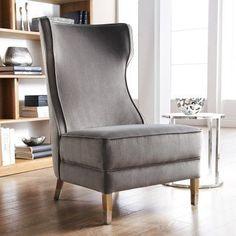 Sunpan Frances Wingback Chair - Gray - 12028-RL
